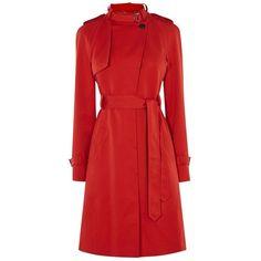 Karen Millen Trench Coat, Red (33.285 RUB) ❤ liked on Polyvore featuring outerwear, coats, cotton coat, cotton trench coat, collarless coat, tie belt and karen millen coat