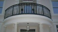 Curved Black Metal Balcony Railing , House Balcony Railing In Landscaping And Outdoor Building Category