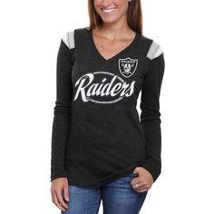 2aeb5a8527b65 Oakland Raiders Ladies Baby Jersey Tri-Blend Long Sleeve V-Neck T-Shirt