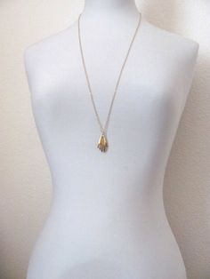 Gold hand pendant necklace 18k gold plated by MySoCalledVintage