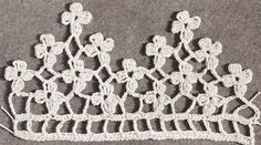 Vintage Crochet Pattern to Make Antique Violet Flower Floral Edging Pillowcase | eBay - just a visual reference so that I can figure out how to do it again.  This would make a pretty scarf