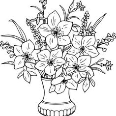 Flower Bouquet, : Lily Flower Bouquet In Vase Coloring Page