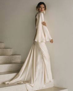 Silk silhouettes in Shona Joy's latest release of their exclusive Bridal Capsule Collection. See more on The Lane. Bridal Dresses, Wedding Gowns, 70s Wedding Dress, Minimal Wedding Dress, Famous Wedding Dresses, Elegant Wedding Dress, Backless Maxi Dresses, Maxi Long Sleeve Dress, Wedding Silhouette