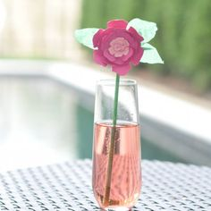 Make your own paper flower swizzle sticks!
