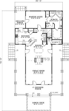 First story single story homes and country style homes on for One story low country house plans