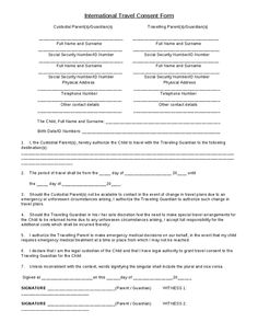 Letter Parental Consent For Minor Travel Template