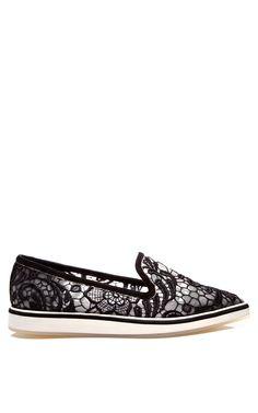 Black Embroidery Micro Sole Loafer by Nicholas Kirkwood - Moda Operandi