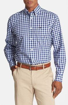 Façonnable Classique Fit Exploded Gingham Sport Shirt available at #Nordstrom
