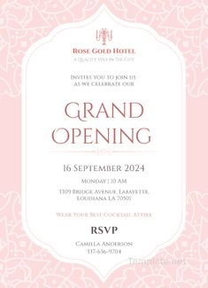Great Pic Formal Invitation grand opening Ideas Your wedding invitation is your guests'first peek into your wedding, so you wish to allow it to be Shop Opening Invitation Card, Grand Opening Invitations, Invitation Card Format, Shine Wedding Invitations, Wedding Invitation Samples, Wedding Card Templates, Invitation Card Design, Invitation Envelopes, Wedding Cards