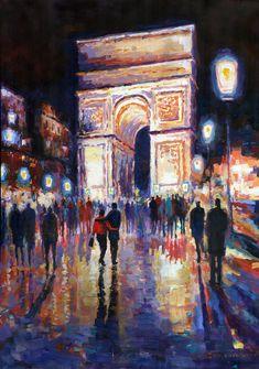 "Saatchi Online Artist: Yuriy Shevchuk; Acrylic, 2012, Painting ""Paris Miting Point Arc de Triomphie"""