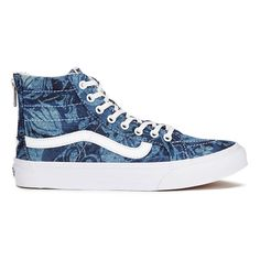 Vans Women's Sk8-Hi Slim Zip Indigo Tropical Trainers - Blue/True... ($86) ❤ liked on Polyvore featuring shoes, sneakers, blue, white leather high tops, high top zipper sneakers, white leather shoes, vans sneakers and leather high tops