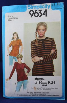 1980's Sewing Pattern for a Woman's T-Shirt in Size 10-12 - Simplicity 9634 by TheVintageSewingB on Etsy