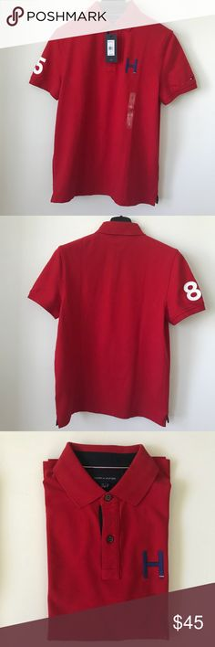 Tommy Hilfiger Flanders Polo, Men's -Small NWT Men's Timmy Hilfiger's Red Flanders Poli Shirt, Small Tommy Hilfiger Shirts Polos
