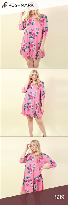 Coming Soon! Plus Size Floral Print Swing Dress New with Tags Plus Size Pink Floral Swing Dress. Item is coming soon. Like this listing and I will notify you when it is available! Dresses
