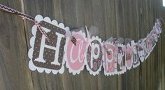 Happy Birthday Banner-Princess in Brown and Pink.