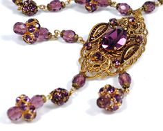 West Germany Amethyst Rhinestone Crystal by EmbellishgirlVintage, $450.00