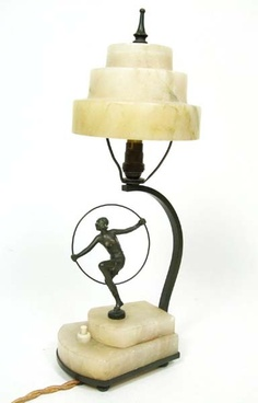 Art Deco Spelter Alabaster Lamp 1920's
