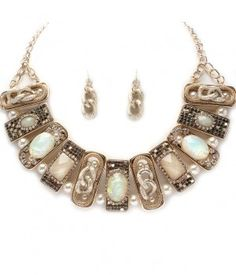 """RETRO JEWELRY – Simulated Opal and Pearl Retro Gold Tone Earrings & Necklace Set $89.49   Save additional 15% by using coupon """"PINTEREST"""".    Category: Retro Jewelry set  Metal: Lead and nickel free   Finish: 14k gold electroplated  Stone: Simulated Opals and Pearls  Length of Necklace: Approx. 17 inches to 20 inches"""