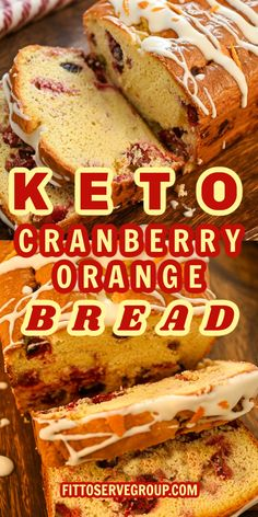 This keto cranberry orange bread makes an easy low carb cranberry quick bread that is bursting with whole cranberries and uses orange zest and orange extract for a delicious treat. It also features tangy orange icing that takes it over the top. keto cranberry orange bread low carb orange bread | keto quick bread |low carb bread |easy keto bread |keto cranberry quick bread |low carb cranberry bread| gluten-free cranberry orange bread Cranberry Quick Bread, Cranberry Orange Bread, Orange Zest, Low Carb Bread, Keto Bread, Dessert Bars, Dessert Recipes, Keto Desserts, Holiday Baking
