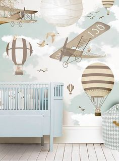 little hands vintage wallpaper mural for boys with hot air balloons and biplanes