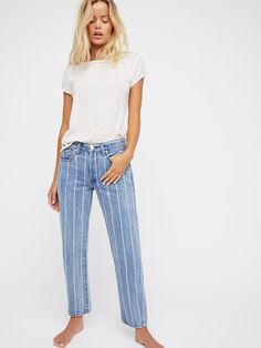 Indigo Stripe Combo Draw the Line Boyfriend Jean at Free People Clothing Boutique Designer Jeans For Women, Striped Jeans, Striped Outfits, Stripe Pants, Denim Trends, Clothing Size Chart, Boyfriend Jeans, Free People, Cute Outfits