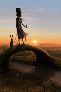 When witches go forth to meet the day they wear special hats and walk with hares...   ✯ Fernweh :: Artist Jeremiah Morelli ✯