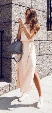 #spring #summer #fashionistas #outfitideas | Nude Summer Maxi Dress