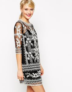 ASOS Premium Shift Dress with Contrast Embroidery