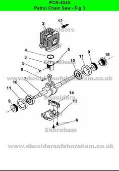 Ryobi PCN 4040 Petrol Chain saw spares diagrams