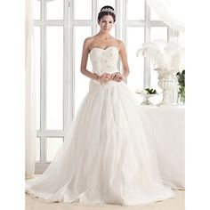 A-line Sweetheart Court Train Organza Wedding Dress – USD $ 249.99