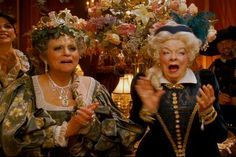 """*ENCHANTED~Illene Woods was in another Disney movie! She had a brief cameo in 2007's""""Enchanted"""".She was one of the two older ladies at the ball at the end who was impressed by the""""show"""".(Being Giselle eating the poisoned apple+""""true love's kiss"""",etc).The young lady on the lt in this picture(Ilene is on the right)is Mary Costa,voice of Princess Aurora in Sleeping Beauty.That means Cinderella,Aurora,Belle,Pocahontas+Ariel were all in the movie!"""