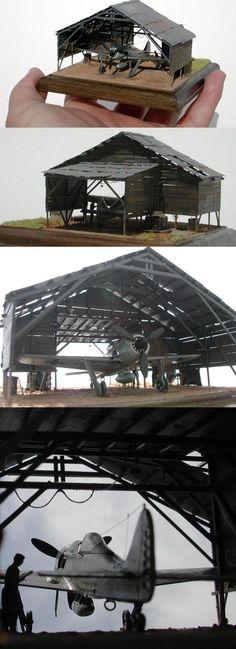 Aircraft hanger diorama