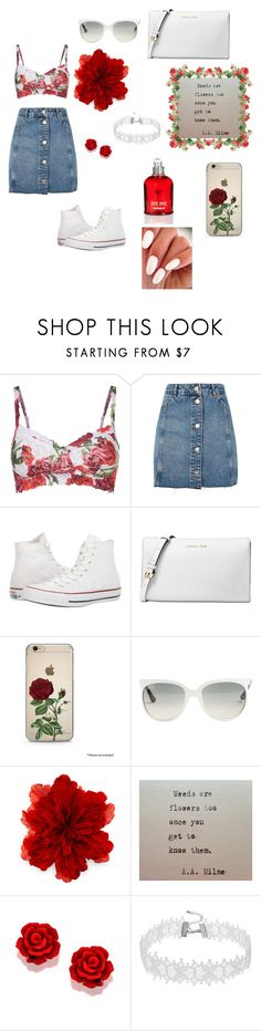 """Flower outfit"" by cheleniak ❤ liked on Polyvore featuring Hanky Panky, Topshop, Converse, Michael Kors, Ray-Ban, Gucci and Cacharel"