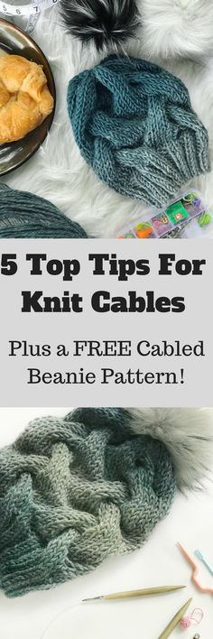 Learn how to improve your cabling skills and make the Salacia Beanie. This free knit hat pattern is an easy introduction to cables for any beginner knitter. #freepattern #knitting #cableknit #knitcables #knithat