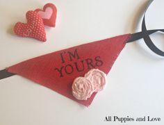 Valentine's Day Dog Bandana I'm Yours Red by AllPuppiesandLove, $20.00