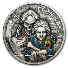 LITTLE MATCH GIRL Fear Tales 2 oz silver coin antiqued Palau 2020