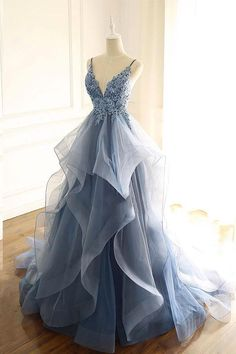 Ruffle prom dress - Blue Gray Tulle V Neck Long Ruffles Prom Dress, Lace Evening Dress from Sweetheart Dress – Ruffle prom dress Pretty Prom Dresses, Cheap Prom Dresses, Dance Dresses, Beautiful Dresses, Dress Prom, Dress Formal, Long Fancy Dresses, Formal Evening Gowns, Prom Dresses Long Sleeve