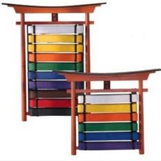 """Features hand painted kanji symbol, means """"budo"""". Includes fitting's for hanging. Sizes: 6, 10. (belts)"""