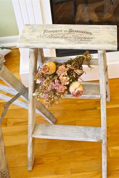 DIY:: Vintage French Graphic Step Stool - interesting use of a step stool, I'm going to look for one to spray paint now!