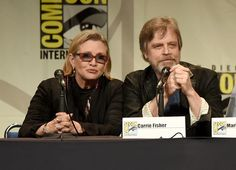 Carrie Fisher Photos Photos - Actors Carrie Fisher (L) and Mark Hamill speak onstage at the Lucasfilm panel during Comic-Con International 2015 at the San Diego Convention Center on July 10, 2015 in San Diego, California. - Comic-Con International 2015 - Lucasfilm Panel