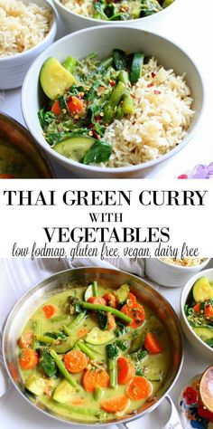 Thai Green Curry with Vegetables low FODMAP, gluten free, dairy free(Vegan Gluten Free Falafel) Whole Food Recipes, Diet Recipes, Cooking Recipes, Healthy Recipes, Delicious Recipes, Celiac Recipes, Recipes Dinner, Recipies, Curry Vert Thai