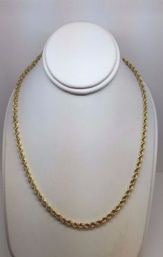 """SOLID HEAVY 14K YELLOW GOLD ROPE 3.5 MM 24"""" CHAIN NECKLACE 20.7 GRAMS #Chain"""