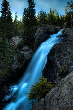 Alberta Falls: Rocky Mountain National Park, Colorado- A pinner says- love to hike around here. The Places Youll Go, Places To See, Places To Travel, Beautiful Waterfalls, Beautiful Landscapes, Seen, Us National Parks, All Nature, Rocky Mountain National Park