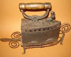 LAUNDRY~Antique 1880s Clothes Cast Iron Sad Coal Press IRON by gatonegro1