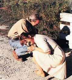 "Having fun with Clint Eastwood on the set of ""The bridges of Madison County"""