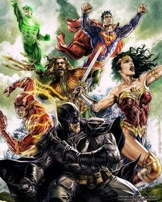 JL Classic Fan Colouring of Lee Bermejo's justice league cover by Jason Jason ( Marvel Dc Comics, Dc Comics Superheroes, Dc Comics Characters, Dc Comics Art, Gotham Comics, Gotham Batman, Batman Robin, Marvel Avengers, Justice League Comics