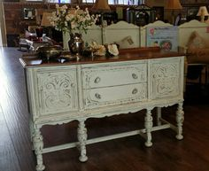1930's Jacobean Buffet finished in Vanilla Bear, heavily distressed and Sheer VAX. #ShabbyPaints #PiecesoftimeFF #vanillabear #sheerVax