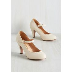Romantic Revival Mary Jane Heel in Creme ❤ liked on Polyvore featuring shoes, pumps, cream shoes, maryjane pumps, mary jane pumps, strappy shoes and vegan footwear