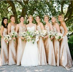 Long Champange Satin Bridesmaid Dresses | DHgate