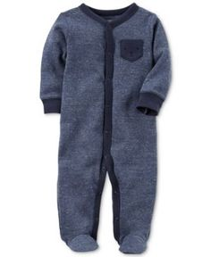 Carter's Bear-Pocket Thermal Footed Coverall, Baby Boys (0-24 months) - Blue